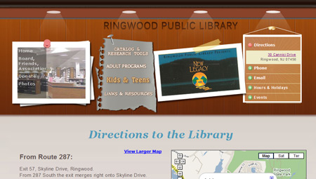 Ringwood Library Website, Passaic County